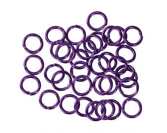 50 Opened Jump Rings -  Findings - Round - PURPLE Or GREEN - 6mm