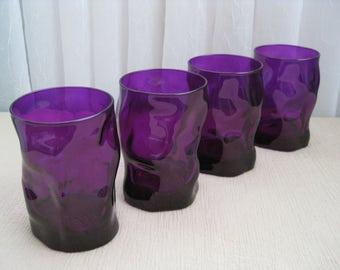 Set of Four Vintage Mid Century Twist Purple Glass Tumblers