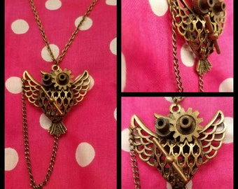 "Steampunk ""Mechanical owl"" necklace"