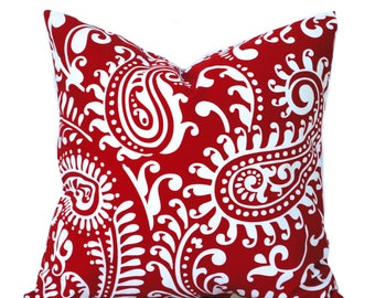 One Red pillow cover,  Home decor, decorative pillow, throw pillow, Paisley Pillow, DIFFERENT SIZES AVAILABLE