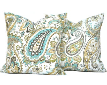 2 Paisley pillow covers, cushion, decorative throw pillow, Blue pillow, accent pillow, outdoor pillow, pillow case