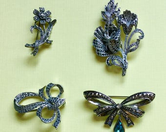 Vintage 60's Marcasite Brooches x 4 Flowers and Bows
