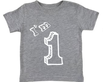I'm One T Shirt - First Birthday Party 1 Year Old - Heather Grey