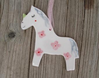 Unicorn Ornament,Girly,Cute Unicorn Ornament,Pottery Unicorn,Colorful,Unicorn,Whimsical Ornament,Pink,Blue,Pottery unicorn,gift for friend