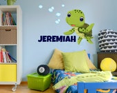 Sea Turtle Wall Decal Custom Name Wall Decal Bubble Stickers Nursery Wall Decals Kids Bedroom Wall Decals Room Decor