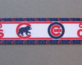 "Sale!!! CHICAGO CUBS  Multi-Logos on 7/8"" White Grosgrain Craft Ribbon - 3 Yards"