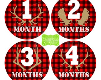 Plaid Baby Monthly Stickers - Baby Bodysuit Stickers - Hunting Monthly Baby Stickers - Boy Monthly Stickers - 046