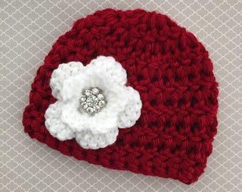 Baby girl crochet hat baby girl coming home outfit newborn girl winter hat baby girl red hat newborn Christmas outfit baby Christmas hat