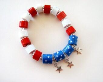 USA Bracelet, Red, White and Blue Bracelet, Beaded Bracelet, Handmade Bracelet, Patriotic Bracelet, Paper Bead Bracelet, Flag Bracelet