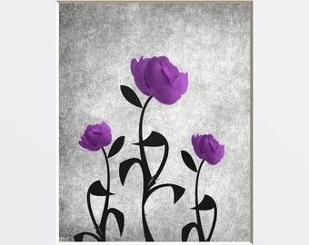 Purple Wall Pictures, Purple Rose Flowers, Modern Purple Bathroom Bedroom Wall Art Matted Picture