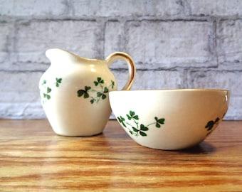 Vintage Carrigaline Pottery miniature Irish wash jug & bowl shamrock white gilt doll house diorama made in Cork Ireland collectible (X)