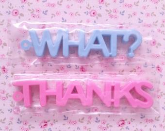 Erasers Fun Word Eraser WHAT? THANKS Japan Vintage 80s