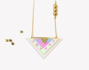 Gold ethnic triangle long necklace | GOLD METEOR necklace Gold-Filled 18K | Holographic engravec glass  necklace with gold beads