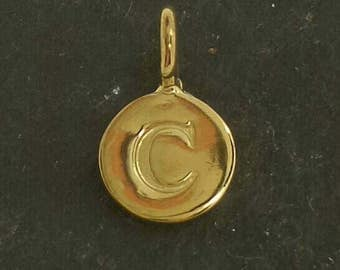 Gold on sterling silver round letter charm C , gold initial C charm,  stamped gold letter charm  , C gold vermeil initial charm