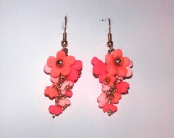 Pink posy drop earrings