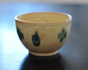 Yellow and blue ceramic bowl, handmade