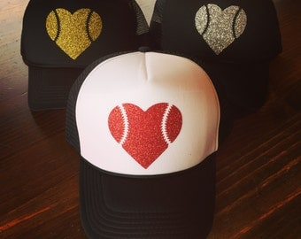 Glitter Baseball Heart Trucker Hat