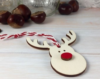 Wooden Reindeer Head Christmas Tree Ornament / Decoration