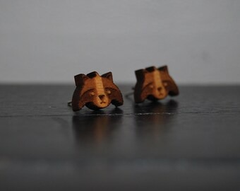 Engraved Wood Raccoon Earrings with Nickel Free Studs!