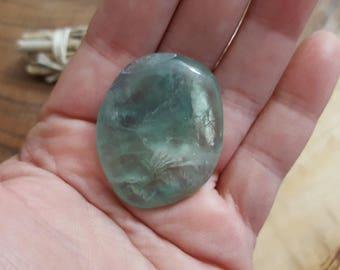 Med Rainbow Fluorite Palm Stone, Chakra Stone, Worry Stone, Fidget Stone ~ 1 Reiki infused polished flat stone approx 1.6x1.3 inch (FLW83)