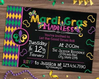 Mardi Gras Invitation - Parade Party Chalkboard Invite - Madness - Let The Good Times Roll - Purple Green Yellow - Printable or Printed 4x6