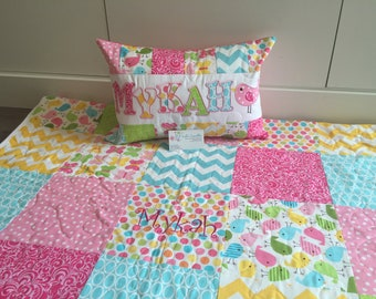 Spring Birds and Butterflies Baby/Toddler Quilt Set