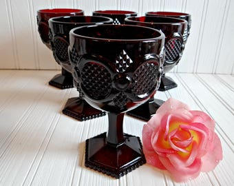 Vintage Avon Cape Cod Large Water Goblets (Set of 6 with Boxes), Ruby Red Water Goblets from the 1876 Cape Cod Collection, Wedding, Holiday