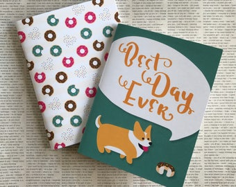 Set of 2 pocket notebooks / Corgi and Donuts! / lined sheets / gift