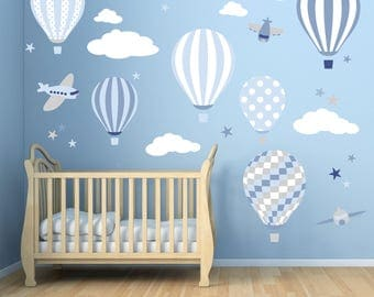 Good Baby Boys Wall Stickers. Hot Air Balloon Decals. Planes, White Clouds And  Stars Part 16