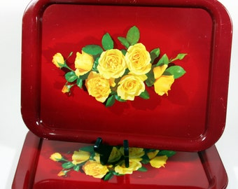 Lap tray set-deep red with yellow rose decal-vintage metal serving trays