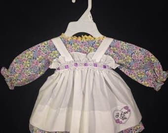 Dress and Apron for 25 inch Raggedy Ann Doll;Blue,Yellow,and Pink Floral print dress,Embroidered Apron with lace and ribbon on the waistband