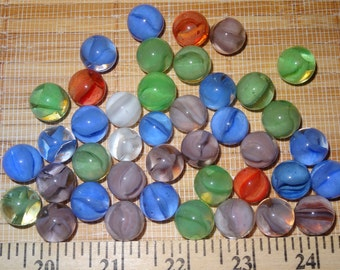 Lot of 41 Vintage Marbles / Glass Marbles / Toy Marbles / Game Marbles