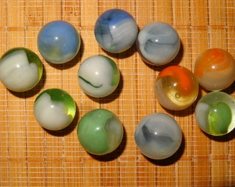 Items Similar To 6 Old Vitro Agate Lg Cat Eye Marbles