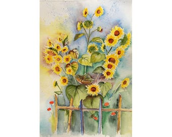 Large Sunflower Painting - Watercolor Original, Large Wall Art