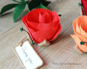 Rustic Wedding Place Cards, 10 Place Card Holders, Table Name Card Holder, Rose Name Place Cards, Wedding Party Favors, Table Seating Cards