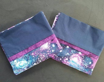 Galaxy Space Pillowcase  - Blue, Purple, and Silver Pillow Cases