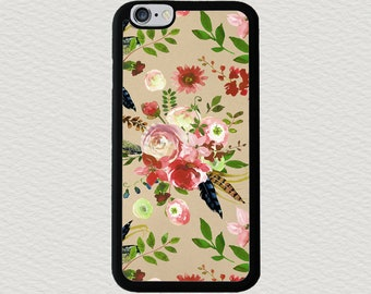 Boho Phone Case, Floral Samsung Galaxy S7 case, Aquarelle Pink Roses Flower Phone Case, Floral iPhone 7 case, Boho iPhone 6 case