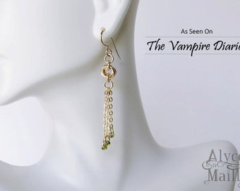 As Seen On The Vampire Diaries Seline's Gold Tassel Earrings - 14kt Gold Filled Earrings - Gold Earrings - TVD