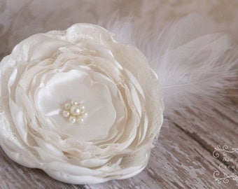 """Couture headpiece """"Evelyn"""": hair accessories for weddings, ivory wedding flower hair clip"""