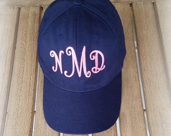Monogrammed Hat-Baseball cap-Ladies Monogrammed ball cap-gift For her-Teen Ball Cap-Matching Mom and Daughter hats-Gift under 30-College Hat