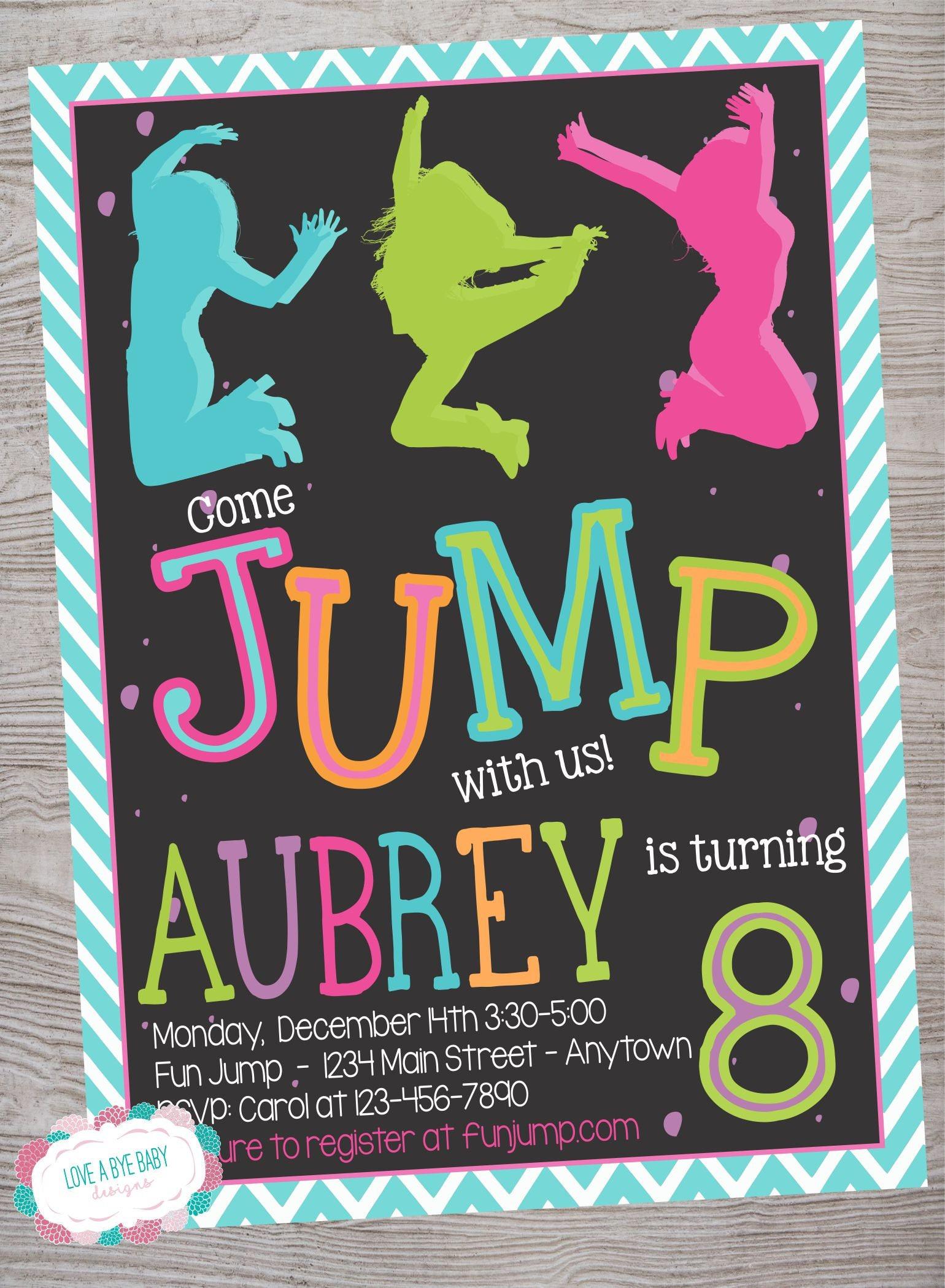 Jump Trampoline Park Birthday Party Invitation Printable