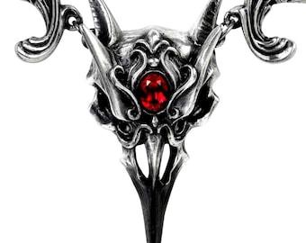 Vampire Ball ~  Raven Skull necklace ~ with blood red  Swarovski  crystal