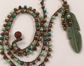 Chic-Boho Crochet Feather Necklace Green & Brown
