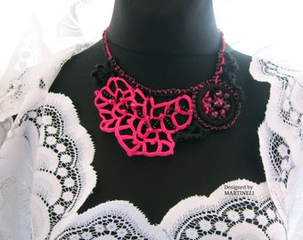 Pink and Black Freeform Crochet  Necklace, Woman Beaded Necklace, Collar Necklace, Boho Crochet Necklace, Unique Crochet, Bead Crochet Bib