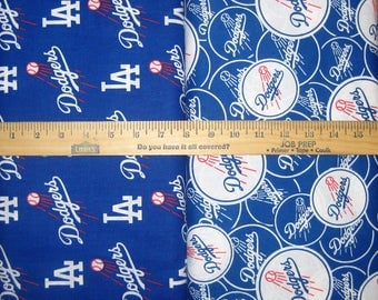 Los Angeles Dodgers Blue & White MLB Logo Cotton Fabric by Fabric Traditions! [Choose Your Cut Size]