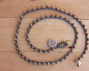 Turkish Coin Crochet Bracelet&Necklace, 3xSilver Multi Wrap Beaded Jewelry