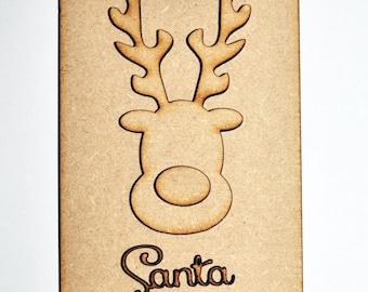 Personalised Christmas Reindeer Door Hanger Santa Please Stop Here 3D laser cut