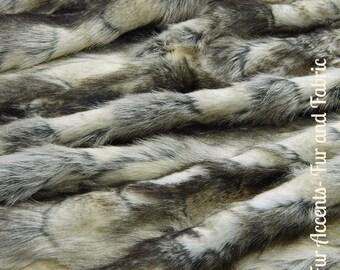 Faux Fur Medium GrayTone Patched Rabbit - New Desert Fox Fur - Fabric - Shag, Crafts, Sewing, Baby & Pet  Photo Props