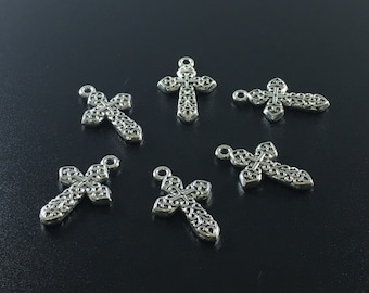 25 Pcs Antique silver Cross Pendants , Cross Charms, Cross Jewelry