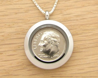 For 16th: 2001 US Dime Locket Necklace 16th Birthday or 16th Anniversary Gift Coin Jewelry